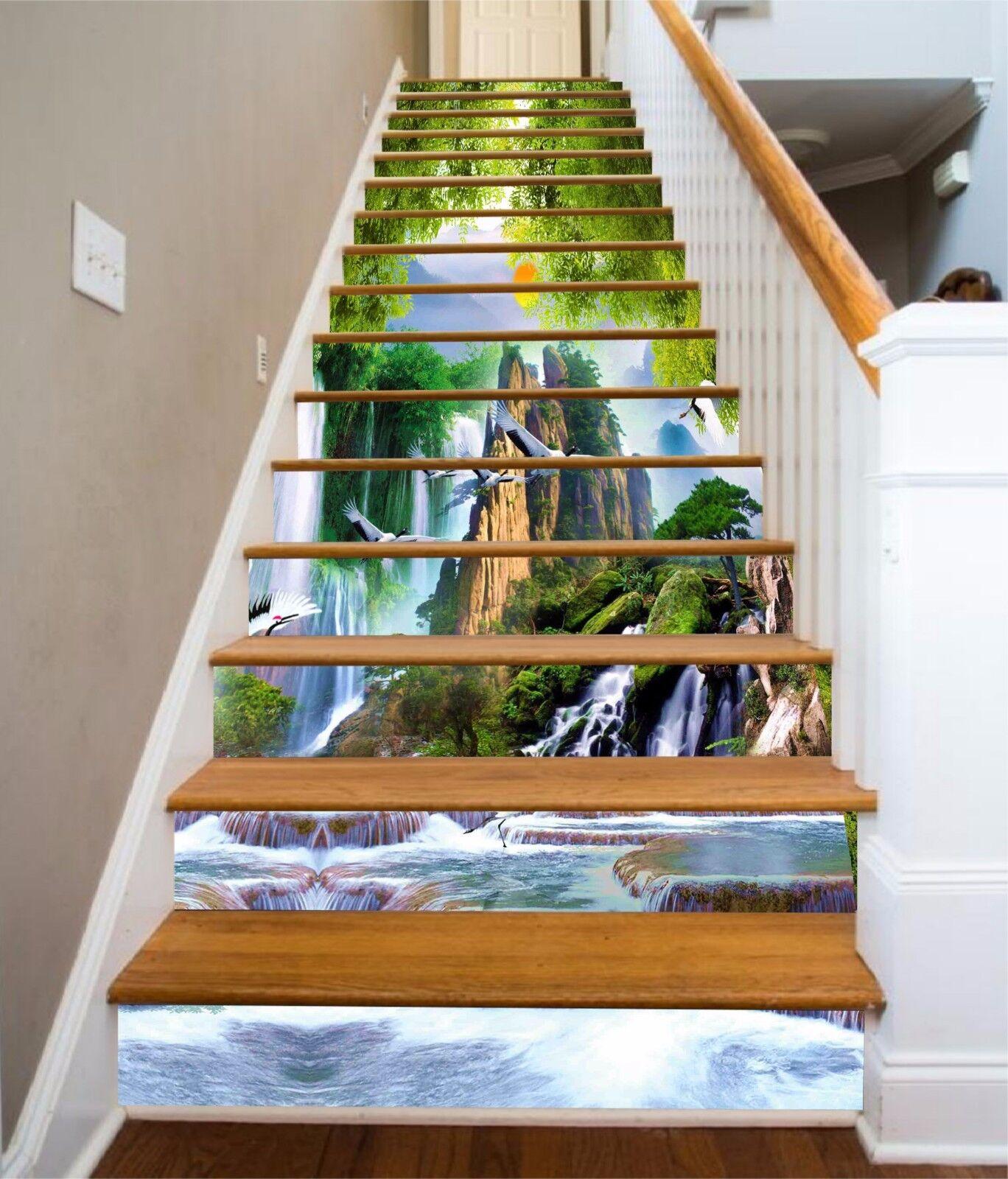 3D Birds Waterfalls Stair Risers Decoration Photo Mural Vinyl Decal Wallpaper UK