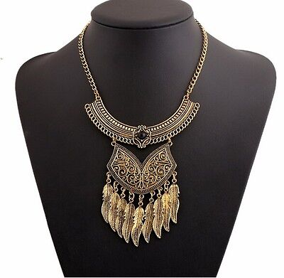 Vintage Bronze Leaves Retro Boho  Long Chain Pendants Fashion Jewelry Necklace