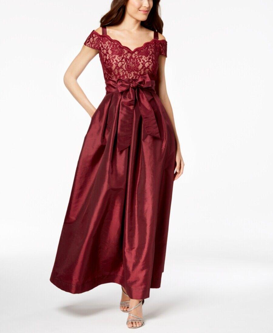 R&M RICHARDS damen rot SWEETHEART COLD SHOULDER GLITTER LACE DRESS Größe 6