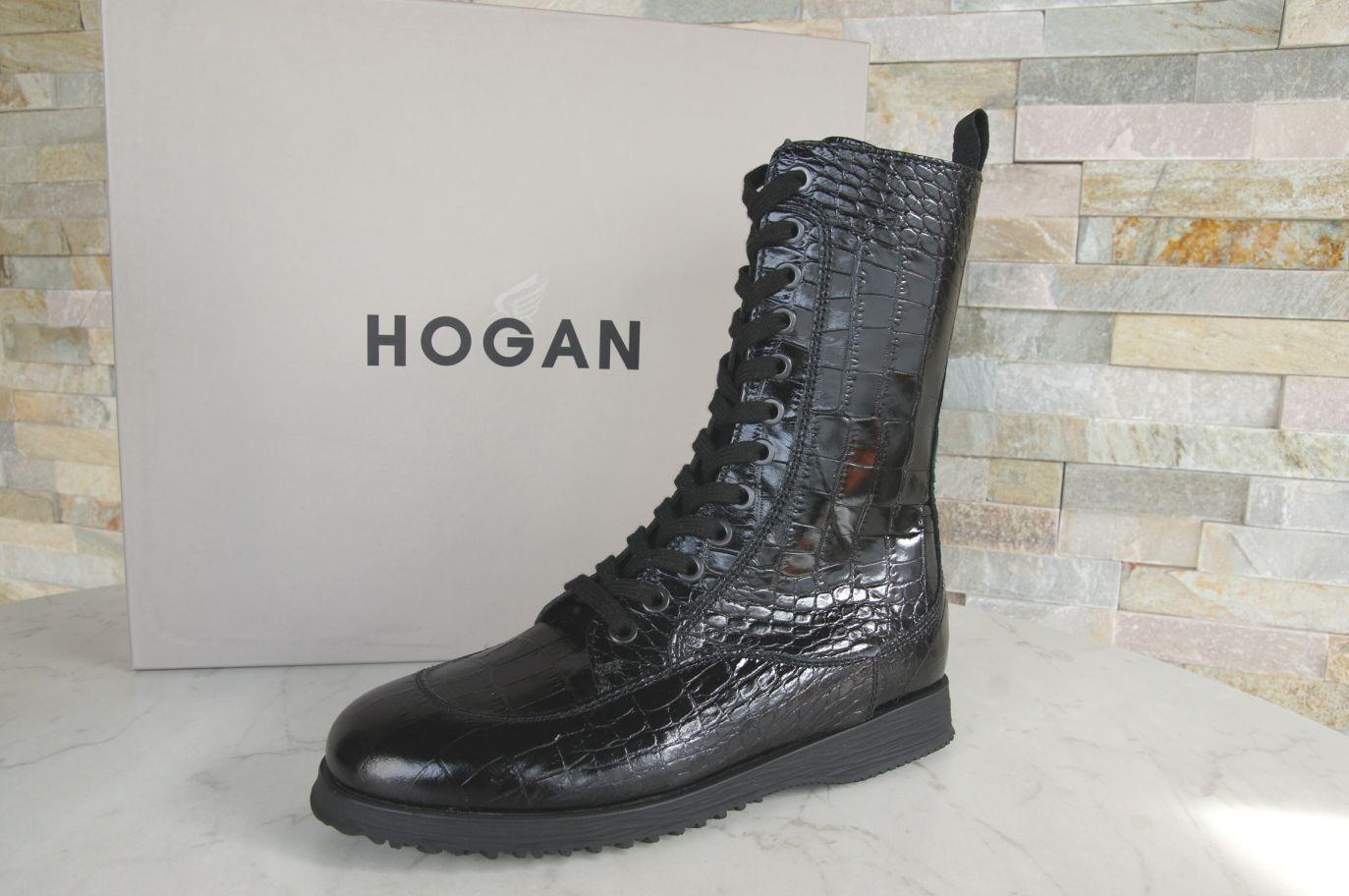 HOGAN Gr 39 Damen Schnür Stiefeletten booties Schuhe Kroko schwarz NEU