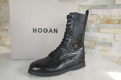 Hogan gr 39,5 Damen Cordones Zapatos Botines Cocodrilo Negras Nueva