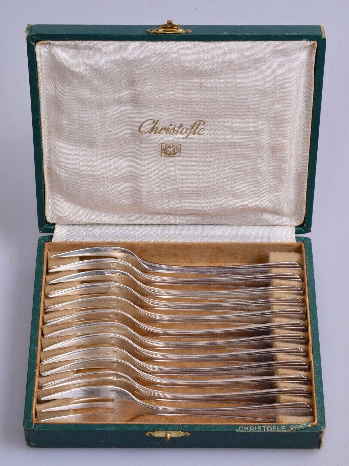 12 FOURCHETTES à GATEAUX CRISTOFLE modèle BOREAL 1930 avec écrin