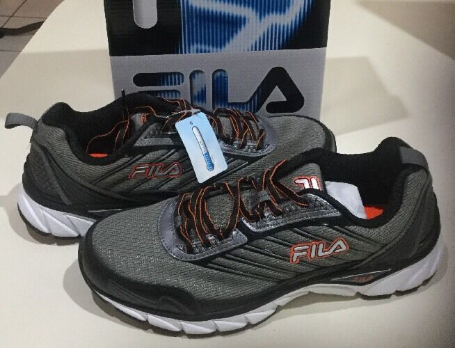 FILA MEN 10 FORWARD COOL MAX LIGHTWEIGHT TENNIS RUNNING SHOES GREY orange WHITE