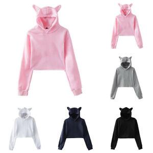 Long Sleeve Women Cat ears Hooded Pullover Coat Loose Hoodie Jumper Sweatshirt