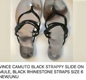 Vince-Camuto-Black-Strappy-Slide-Sandals-Size-6-new-unused