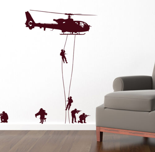 SOLDIERS WALL STICKERS KIDS NURSERY ART DECALS HELICOPTER K3
