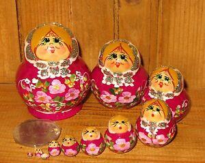 Russian-Nesting-Dolls-MINIATURE-Matryoshka-10-FUCHSIA-hand-painted-TINY-BABUSHKA