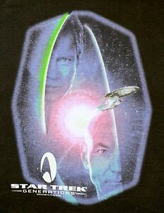 RARE-Vintage-Star-Trek-Generations-Movie-1995-T-Shirt-XL-Black