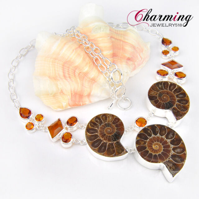 Top Sale Natural Ammonite Fossil Brazil Citrine Charm Gems Silver Necklace