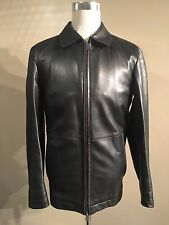 HUGO BOSS CALTOR BLACK LAMBS LEATHER CAR COAT BOX JACKET SIZE 50 LARGE GOOD USED