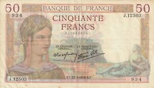 France-50-Francs-1940-Banknote-Pick-85-85b-WWII-Vintage-Currency-Old-Money