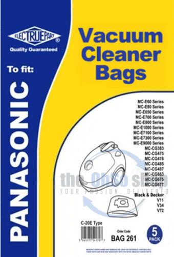 5 x Panasonic Sacs D/'aspirateur Type C-20E MC-CG485 MC-CG487 MC-CG476