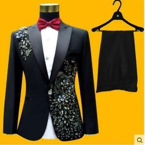 Singer Clubwear Wedding Men Jackets pants Floral Rhinestone Formal Dress XXXXL @