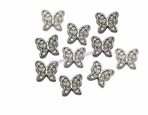 Silver CZ Butterfly Floating Charm For Glass Memory Locket Necklace Or Bracelet