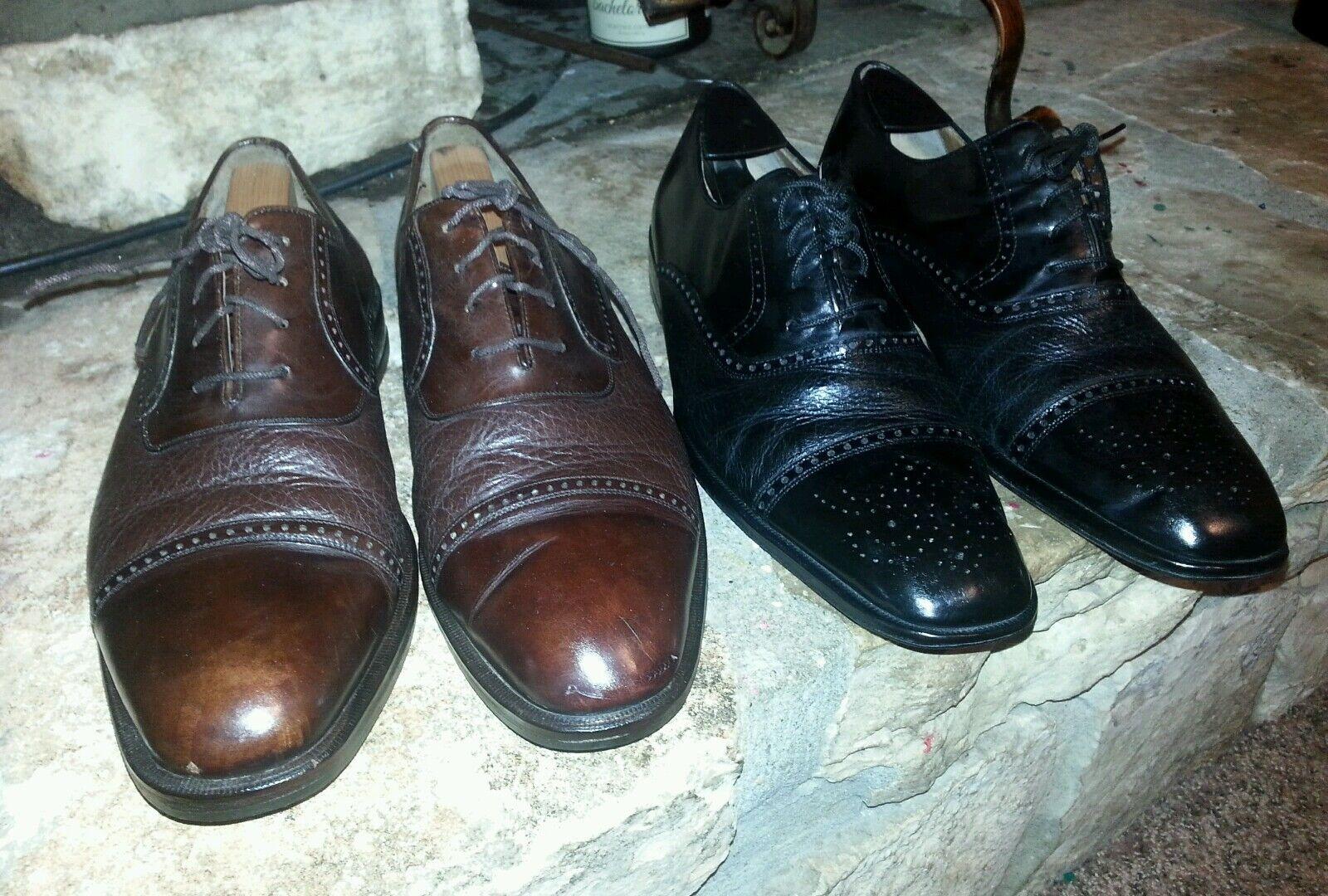 Lote mezlan Cap Zapatos Negro Andrew y Marrón Nicola tanto tamaño 10.5 hecho en España