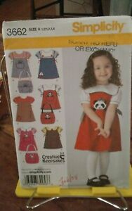 Oop-Simplicity-3662-toddlers-jumper-blouse-purse-applique-adorable-sz-6m-4-NEW