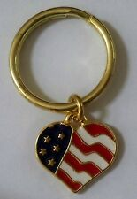 US Flag heart keyring, gold plate, made in America!