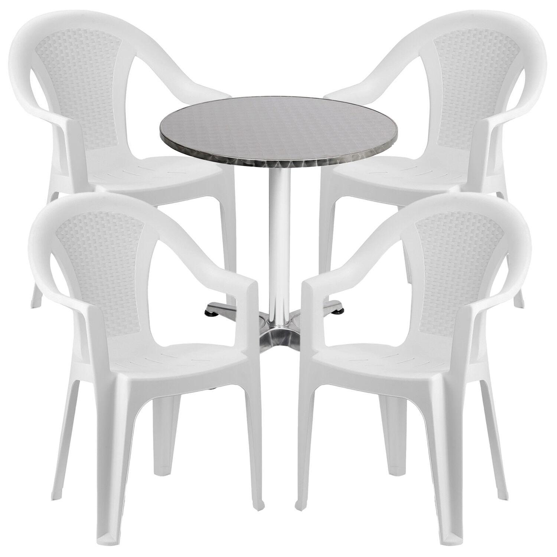 Mojawo ® 5 Pezzi Set da Bistrot Set da balcone ø60cm ALLUMINIO-Plastica Bianco