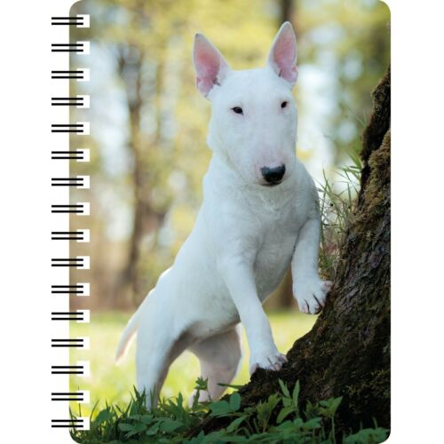 White English Bull Terrier among trees amazing 3D picture on a Notebook