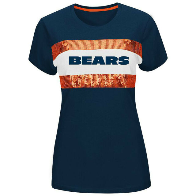 Majestic NFL Football Chicago Bears Sequin Shimmer Tee Shirt - Womens Size S M L