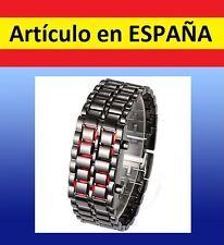 Reloj de pulsera ACERO digital Samurai LAVA WATCH brazalete luz led inoxidable