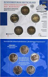 Offizieller KMS Satz Blister Set VfS 5 x 2 EURO Schloss Schwerin- A-D-F-G-J 2007