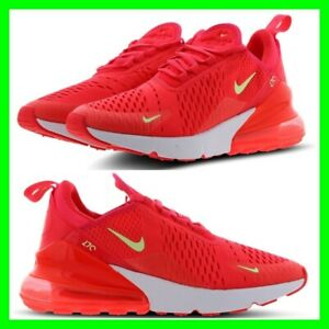 huge selection of e77ce 8ee52 Details about Nike Air Max 270 Trainers Womens Size 3.5-7 Red/Orange Volt  Flourescent NEW 2019