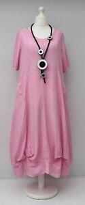 Ubergroesse-KEKOO-atemberaubende-Baumwollmischung-A-Linie-Long-Kleid-pink-Bueste-bis-50-034-XL