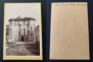 France-Loches-entree-du-chateau-Vintage-albumen-print-carte-cabinet-Tirage