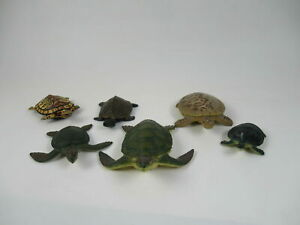 Vintage-Lot-6-Snapping-Turtle-Plastic-Resin-Tortillas-Home-Decor-Decoration