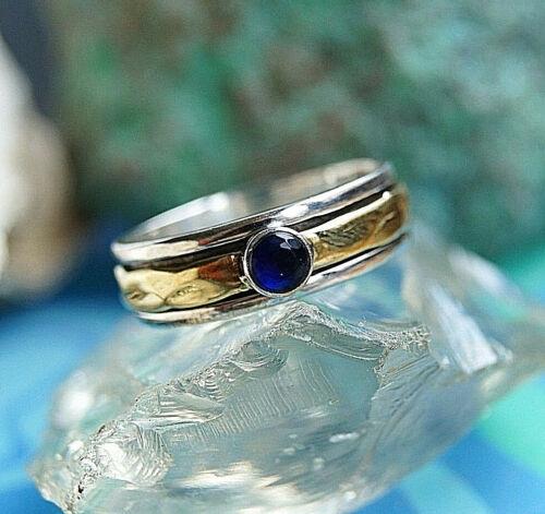 Drehring 56 61 Silber 6,5 mm Saphir Blau Silberring Modern Elegant Messing Edel