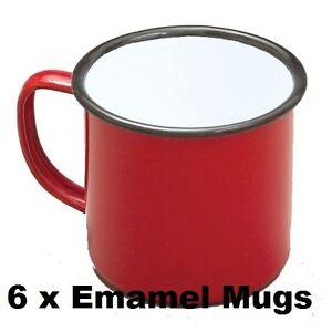 6  X Falcon Enamel Mug 1/2pt/0.28lt Red Enamel