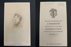 Tourtin-Paris-Dejazet-actrice-Vintage-carte-de-visite-CDV-Tira