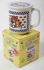 NEW FRIENDS Ceramic Mug Lid Coaster Coffee Tea Set Box Bear Cat Dog, Boxed Gift