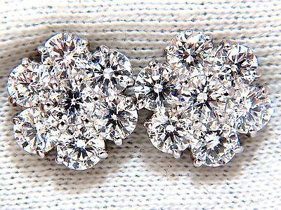 Cluster diamond earrings 4.80ct G/Vs 14kt (14) round brilliants executive prime