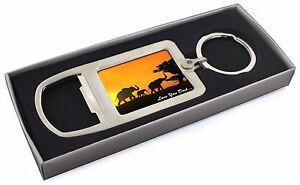 Elephants 'Love You Dad' Sentiment' Chrome Metal Bottle Opener Keyri, DAD-140MBO