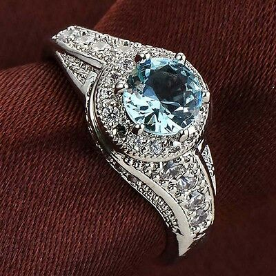 Fashion Women 925 Sterling Solid Silver Blue Topaz Wedding Engagement Ring