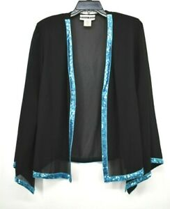 Dana Kay Womens Black Long Sleeve Semi Sheer Blue Sequin Lining Cardigan 18W