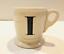 miniature 1 - Anthropologie Letter I Initial Coffee Mug White Black Retro Shaving Cup Monogram