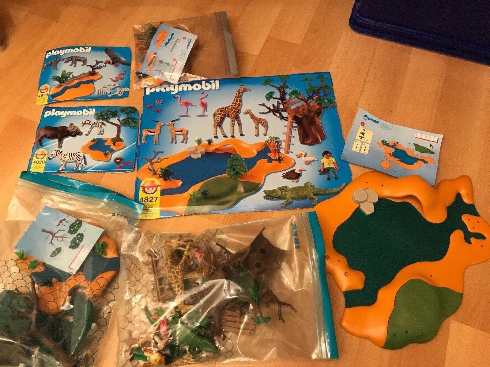 Playmobil 4827 Safari große Wasserstelle, dazu 4828 Zebras und 4829 Hyänen