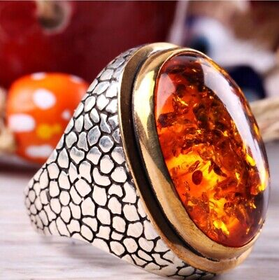 Turkish 925 Sterling Silver orange new amber stone Mens ring ALL SİZE us 666