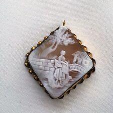 Rare Antique Victorian 19th Century Gold Shell Cameo Brooch Pin Pendant