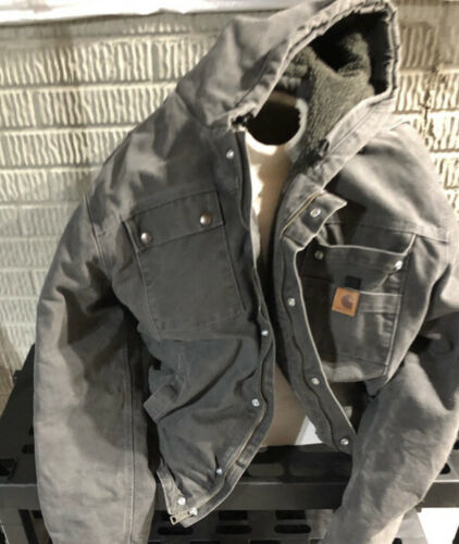 CARHARTT 2XLT Gray Lined Hooded Canvas Jacket Blac
