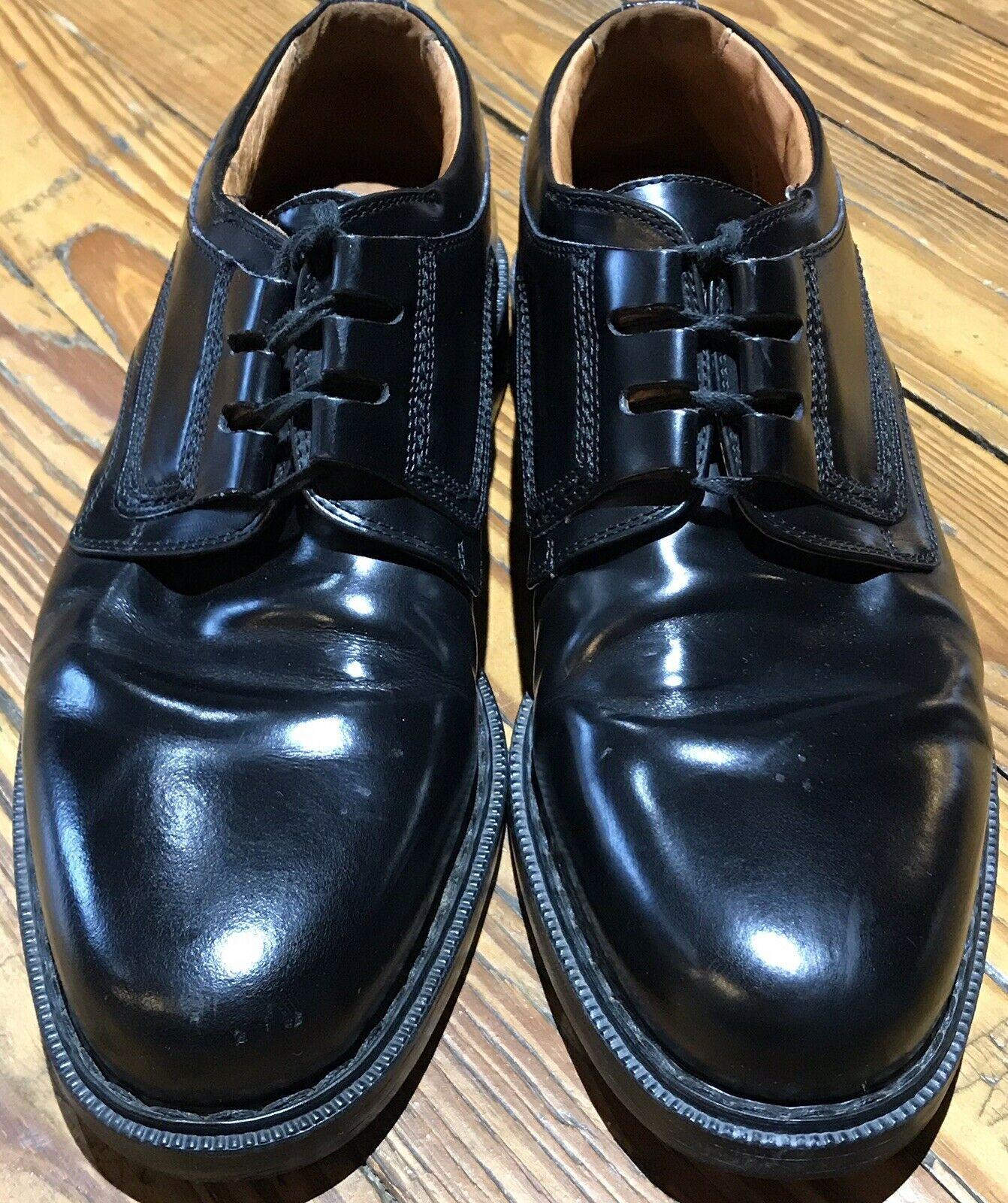 Johnston and Murphy Passport 10.5 M Oxford Leather Black Lace Up Made Italy s