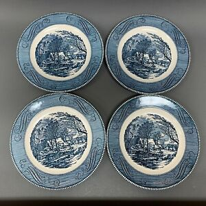 Currier-amp-Ives-The-Old-Grist-Mill-by-Royal-Dinner-Plates-Blue-White-Lot-of-4