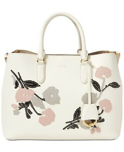 Image is loading Ralph-Lauren-Debby-Marcy-Large-Floral-Satchel-Vanilla- eb4df2b937d1e
