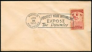 Philippine-1955-Protect-Your-Birthright-Expose-The-Dummies-FIRST-DAY-COVER-A