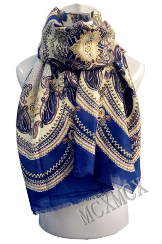 Top Quality Soft Flower Pattern with Blue Striped Border Winter Scarf