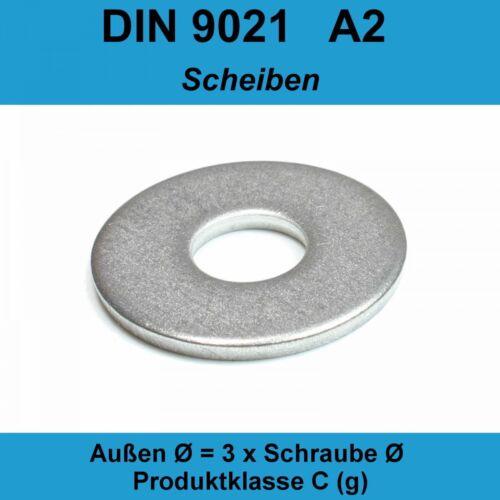 17,0 DIN9021 Unterlegscheiben Edelstahl A2 Beilagscheiben Karosseriescheiben M16