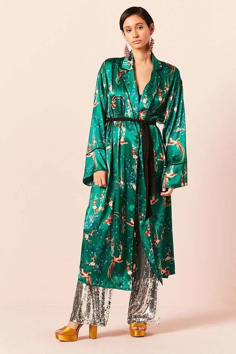 Forever 21 Green Red Satin Floral Duster Cardigan Medium M